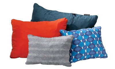 The Therm-a-rest compressible pillow is the secret to great night's sleep while you're camping or backpacking.